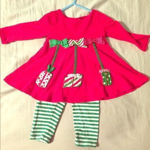12M Baby Girl Christmas Outfit 2pcs / Bonnie Baby